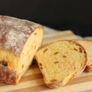 Carrot Raisin Bread | Just like the popular Carrot Raisin Salad, this bread has the subtle tang of mayonnaise combined with the sweetness of carrots and raisins. Find recipe at redstaryeast.com.