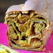 Pumpkin Spice Cinnamon Roll Brioche | Pumpkin pie spice and cinnamon-sugar swirled in a rich pumpkin brioche bread. Enjoy this Fall-inspired bread with a cup of coffee for breakfast. Find recipe at redstaryeast.com.