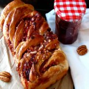 Raspberry Pecan Swirl Bread | This sweet bread is sure to add an elegant touch to your table. So tender, it literally melts in your mouth! Find recipe at redstaryeast.com.