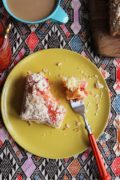 Strawberry Coffee Cake | Strawberry preserves are tucked under a crunchy topping in this easy coffee cake. Find recipe at redstaryeast.com.