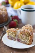 Strawberry Lemonade Yeasted Coffee Cake | An easy, ultra moist coffee cake with fresh strawberries, streusel crumb topping, and fresh lemon glaze. Find recipe at redstaryeast.com.
