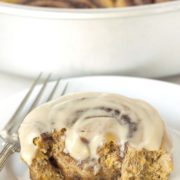 Whole Wheat Pumpkin Cinnamon Buns | These gooey pumpkin cinnamon buns are made a little healthier with whole grains and are loaded with autumnal spices and maple cream cheese frosting! Find recipe at redstaryeast.com.