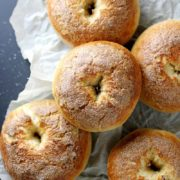 French Toast Bagels | Why choose between French toast and bagels for breakfast when you can have both? These fluffy, soft bagels are easy to bake and taste just like classic French toast with maple, cinnamon, brown sugar and vanilla flavors. Don't forget the cream cheese! Find recipe at redstaryeast.com.