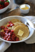 Gluten-Free Overnight Yeast Pancakes | Rich, moist, spongy yeasted pancakes with a naturally sweetened strawberry topping. This gluten-free pancake recipe is perfect to make ahead. Simply make the batter at night and enjoy pancakes first thing in the morning! Find recipe at redstaryeast.com.