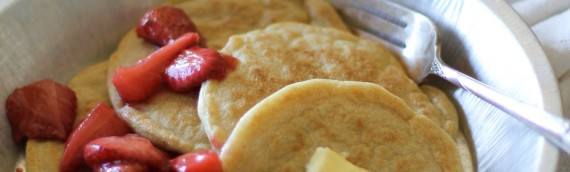 Gluten Free Overnight Yeast Pancakes with Strawberry Topping