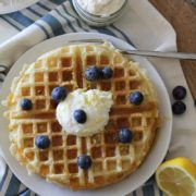 Gluten Free Yeasted Buttermilk Waffles | Soft and flavorful on the inside with a great crisp on the outside. Enjoy them with honey-ricotta spread and a drizzle of honey for the perfect bite! Find recipe at redstaryeast.com