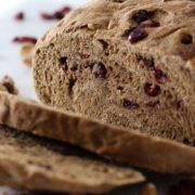Whole Wheat Cranberry Walnut Bread | 100% whole wheat bread studded with cranberries and walnuts in every bite. It's vegan, too! Find recipe at redstaryeast.com.