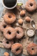 Pumpkin Spice Sugared Doughnuts | Soft on the inside, golden brown and crunchy on the outside, with a sugary pumpkin spice coating. Find recipe at redstaryeast.com.
