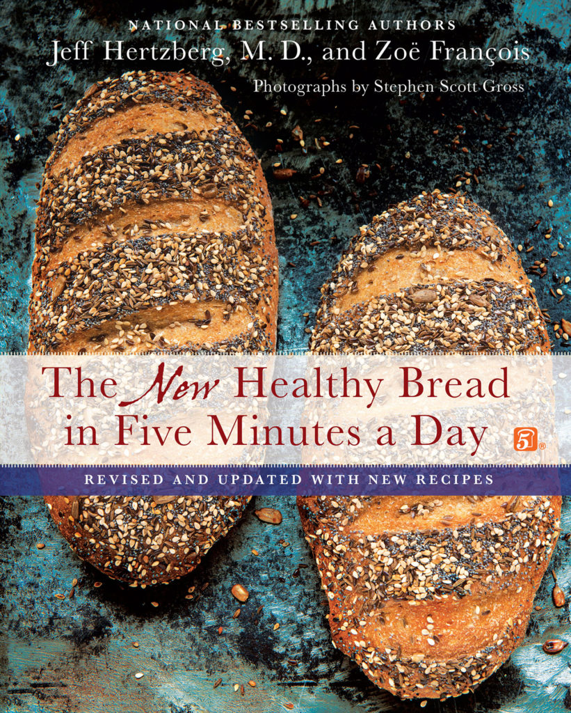 When we first wrote Artisan Bread in Five Minutes a Day in 2007 we were immediately asked how to convert the recipes to whole grains. We knew then that we'd be writing another book to satisfy the appetite for healthier breads. We also discovered gluten-free flours and developed our first breads made with them. The book answered a lot of questions and concerns about eating whole grains, but since 2009, when it first came out, we've learned even more. Our readers have become curious about ancient grains, baking with sourdough starter and they wanted even more 100% whole wheat. Well, we got the opportunity to create a new edition of the book and we're thrilled to introduce you to the The New Healthy Bread in Five Minutes a Day: Revised and Updated with New Recipes.