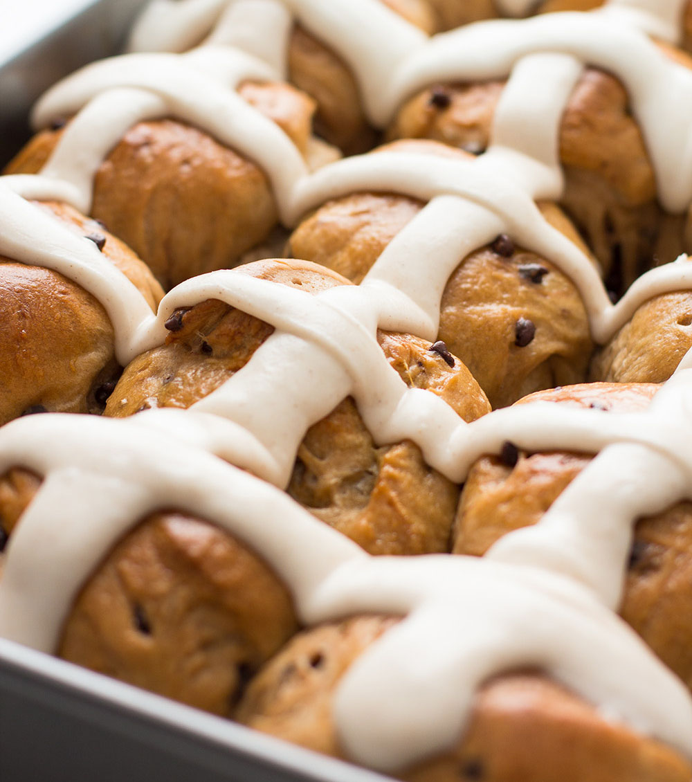 Chocolate Chip Hot Cross Buns recipe