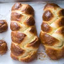 No Knead Challah   This bread is so easy, there is literally no kneading, but you do need to plan ahead. It is best if you can prep it on Tuesday night so it has 3 days to chillax in the fridge before baking it up fresh on Friday. Find recipe at redstaryeast.com.