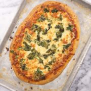 Easy Sheet Pan Pizza | This pizza dough comes together in minutes and doesn't need a mixer to achieve success. You can easily double this recipe if you would like to make two sheet pan pizzas. Find recipe at redstaryeast.com.