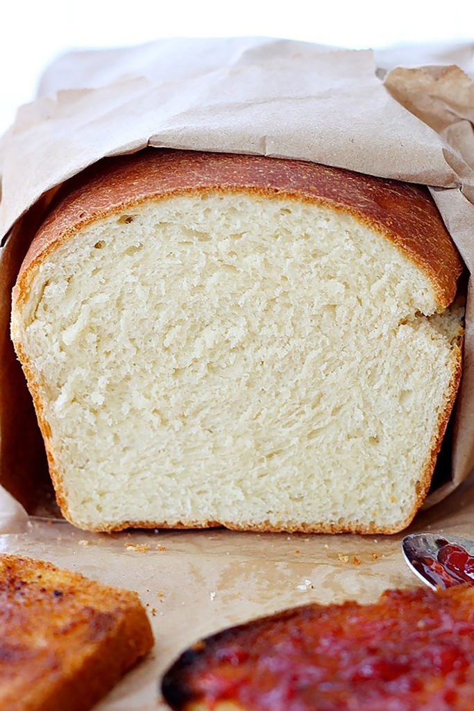 Homemade White Sandwich Bread | Probably the simplest bread recipe, soft and fluffy, with a yellowish crumb and a chewy crust, this bread it perfect for Pb&J or any deli sandwiches and even for making French toast. Find recipe at redstaryeast.com.