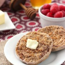 Whole Wheat Cinnamon Raspberry English Muffins | Soft, chewy cinnamon English muffins filled with sweet, fresh raspberries! Find recipe at redstaryeast.com.