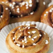 Whole Wheat Kanelbullar | Lightly sweetened and whole grain, these cardamom infused Swedish cinnamon buns are a slightly healthier take on the American cinnamon bun. Find recipe at redstaryeast.com.