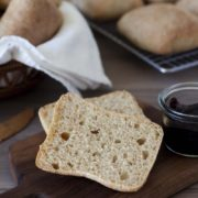 Whole Wheat Torta Rolls | A flavorful, chewy, ciabatta style roll made with whole wheat flour. A copycat whole wheat version of the popular Torta sandwich rolls sold at Costco. Find recipe at redstaryeast.com.