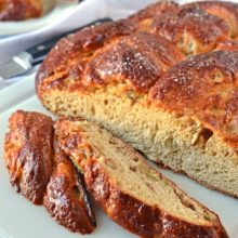 Apple Honey Challah | Fluffy honey-sweetened challah bread stuffed with apples and cinnamon. Perfect for special occasions and makes incredible challah French toast. Find recipe at redstaryeast.com.
