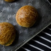 Cheddar Brioche Buns | The perfect base for a grilled cheese sandwich or cheeseburger. They're also a fantastic side for stews and chili! Find recipe at redstaryeast.com.