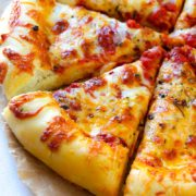 Cheesy Crust Pizza | This thick and chewy homemade pizza crust is perfect for pizza night! Find recipe at redstaryeast.com.