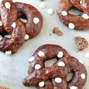 Chocolate Soft Pretzels with White Chocolate Chips | Big and fluffy, these are a must for soft pretzel lovers. The dough has a light cocoa flavor and the white chocolate chips are baked on both the inside and the outside for maximum chocolate impact. With no egg wash and only 15 minutes of rise time, these homemade soft pretzels will be ready in less than an hour! Find recipe at redstaryeast.com.