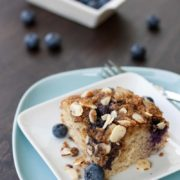 Gluten Free Blueberry Coffee Cake | This simple and sweet coffee cake is a family favorite gone gluten-free. Blueberries add a bit of color and make this cake perfect for the warm months of the year. Find recipe at redstaryeast.com.