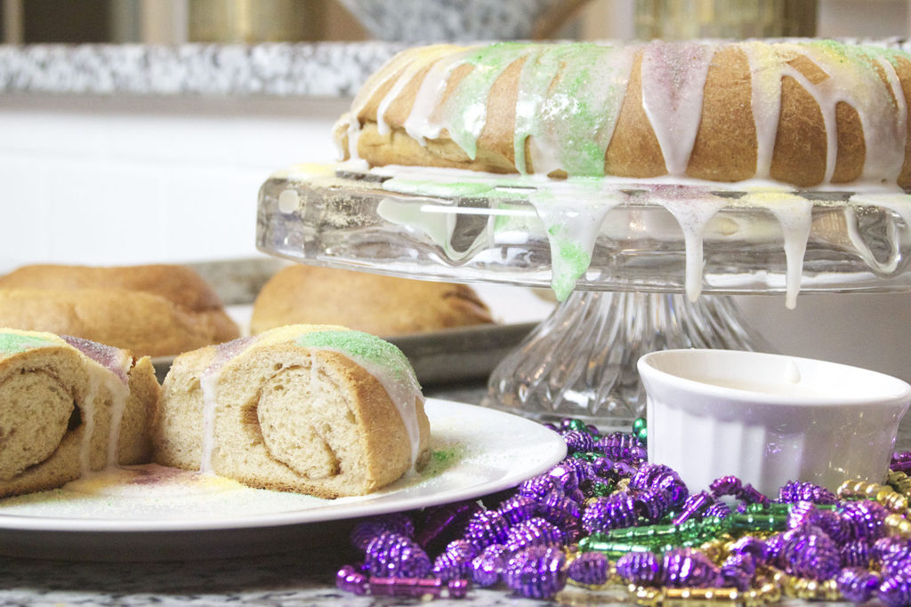King Cake | No need to order in a King Cake to celebrate Mardi Gras when you can bake your own at home! This traditional recipe combines a rich brioche style dough with a sweet cinnamon and sugar filling. Find recipe at redstaryeast.com.