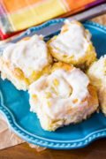 Lemon Sweet Rolls | Fluffy & soft lemon sweet rolls covered in a simple lemon cream cheese frosting. These rolls use a quick sweet roll dough – only one rise! Find recipe at redstaryeast.com.