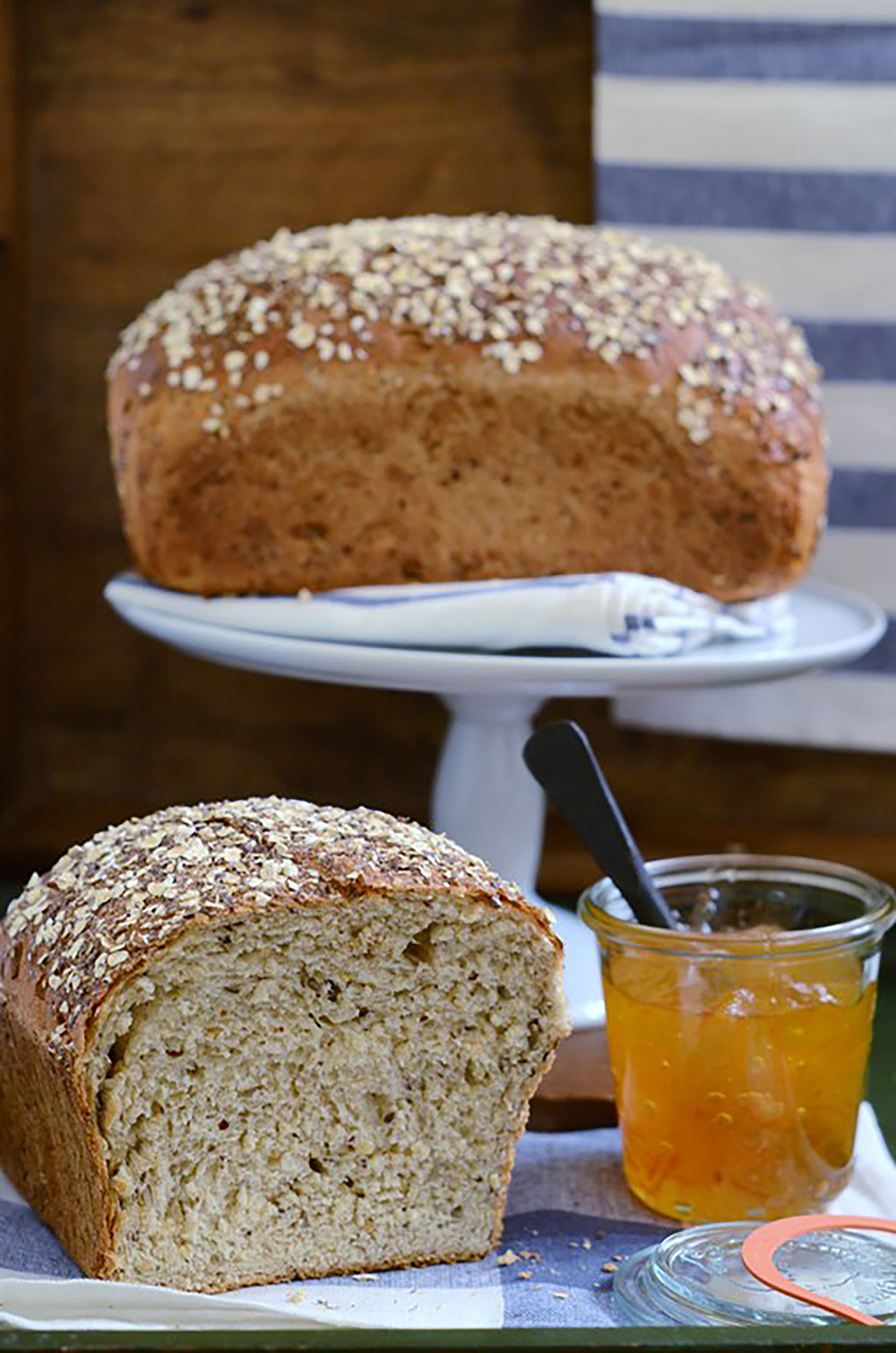 Multigrain Oatmeal Bread | Nuts, seeds and cracked wheat give this wholesome bread a wonderfully crunchy texture. Find recipe at redstaryeast.com.