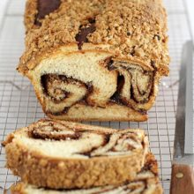 Nutella Babka | Swirl upon swirl of chocolate hazelnut spread and a buttery, nutty streusel topping make this babka one decadent and delicious bread. Find recipe at redstaryeast.com.