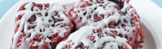 Overnight Red Velvet Cinnamon Rolls with Cream Cheese Glaze