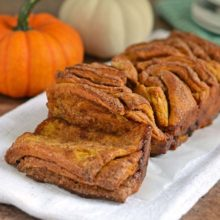 Pumpkin Pull-Apart Bread | Layers of pumpkin dough, cinnamon filling, spices stacked together for the perfect fall treat. Find recipe at redstaryeast.com.