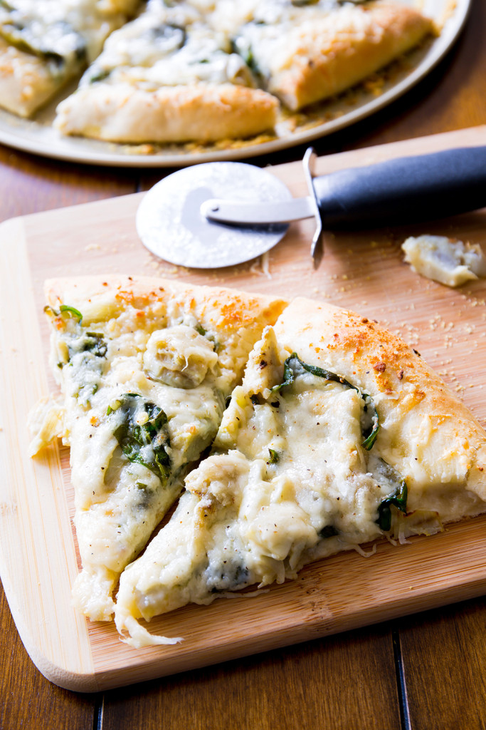 Spinach Artichoke White Cheese Pizza