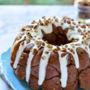 Sticky Pumpkin Monkey Bread | A homemade recipe for Pumpkin Monkey Bread with cream cheese glaze and toasted pecans. Find recipe at redstaryeast.com.