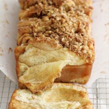 This Apple Cinnamon Streusel Pull-Apart Bread combines fresh apples, melted butter and a sweet cinnamon-sugar filling tucked between slices of soft bread. With a crumbly, sugary streusel to top it off, it's a deliciously comforting fall baking recipe you'll want to make again and again. Find recipe at redstaryeast.com.