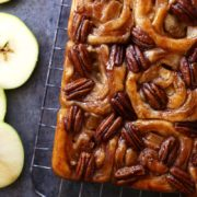 Apple Honey Pecan Sticky Buns | Yeasted sticky buns with a tender apple filling and irresistible honey-pecan topping. Find recipe at redstaryeast.com.