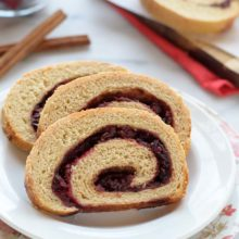 Cranberry Orange Cinnamon Swirl Bread | Soft and fluffy cinnamon swirl bread with fresh cranberries and orange. This recipe tastes so much better than store bought cinnamon swirl bread, is healthier for you, and you'll love the bright pop of festive cranberry orange flavor too! Find recipe at redstaryeast.com.