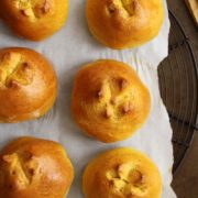 Pumpkin Pie Brioche Rolls | Soft, fluffy and flavored with pumpkin and warm spices, they are easy enough to bake and serve for Thanksgiving or any holiday. Find recipe at redstaryeast.com.