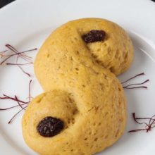 Whole Wheat St Lucia Saffron Buns | These soft saffron buns are 100% whole grain and are traditionally eaten in Sweden on St. Lucia Day and throughout December. Find recipe at redstaryeast.com.