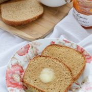 Whole Wheat English Muffin Bread | The best, easiest recipe for English muffin bread. It tastes just like an old fashioned English muffin but is much simpler to make. No kneading required! Find recipe at redstaryeast.com.