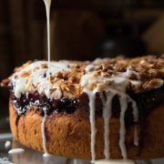Cherry Almond Coffee Cake | This versatile cake falls somewhere between a dessert and a bread. It's not so sweet that you feel guilty about having a slice for breakfast, but it will still satisfy your cravings for a sweet treat in the afternoon! Find recipe at redstaryeast.com.