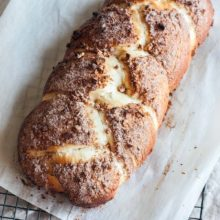 Cinnamon Sugar Pecan Challah Braid | This cinnamon sugar pecan challah braid is a light and airy bread with a sweet and slightly crunchy outer crust that would make the perfect addition to your next brunch holiday celebration. Find recipe at redstaryeast.com.