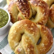Pesto Parmesan Stuffed Soft Pretzels | Chewy soft pretzels stuffed with a creamy pesto Parmesan filling! Find recipe at redstaryeast.com.