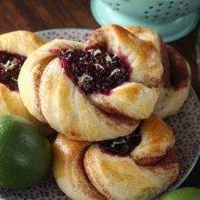 Blackberry Lime Filled Cinnamon Twists | Tender, flaky cinnamon twists with a sweet blackberry lime filling! Find recipe at redstaryeast.com.