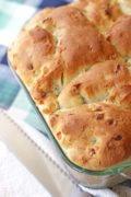 Herb Onion Batter Bread | A casserole bread with all the flavor of herb stuffing. Find recipe at redstaryeast.com. #bread #yeastbread #nokneadbread
