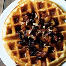 These Malted Yeast Waffles are rich in flavor, crunchy on the outside, and soft and fluffy on the inside. The Apple Cranberry Compote makes them perfect for a fall weekend breakfast for your family. Find recipe at redstaryeast.com.