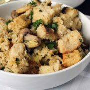 Holiday Stuffing | A no-fuss homemade crusty bread makes this stuffing recipe the star at any Thanksgiving table. Full of flavor and texture this simple stuffing will be your go-to side year after year. Find recipe at redstaryeast.com.