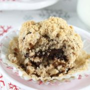 Chocolate Chunk Coffee Cake Muffins | Studded with chunks of chocolate & walnuts and topped with a cinnamon-streusel topping, these delightfully delicious muffins are an amazing treat for breakfast, brunch or snacking. Find recipe at redstaryeast.com.