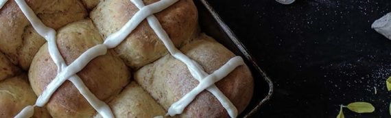 Coconut Roasted Carrot Hot Cross Buns with Pineapple Ginger Icing