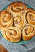 Peach Pie Cinnamon Rolls | Take your cinnamon rolls to the next level by adding peach filling. These sweet rolls make an incredibly delicious breakfast treat that your family is sure to enjoy! Find recipe at redstaryeast.com.