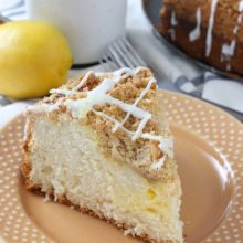 Cream Cheese Lemon Coffee Cake | This easy coffee cake has a light, airy texture, a hearty crumb topping, and a sweet lemon cream cheese swirl! Find recipe at redstaryeast.com.